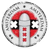 Grungezegel met meerpaalsymol van Amsterdam en vlag Stock Afbeeldingen