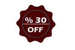 Grungezegel 35 percenten weg met rode teksten over witte achtergrond Royalty-vrije Stock Foto