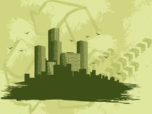 Grungy �green city� banner Royalty Free Stock Images