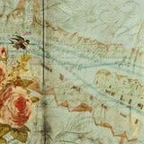 grungy античной предпосылки голубое флористическое Стоковая Фотография RF
