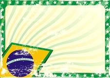Grungy бразильская предпосылка флага Стоковая Фотография