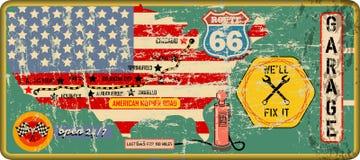 Grungy винтажные знак гаража маршрута 66 и дорожная карта, ретро grungy vec бесплатная иллюстрация