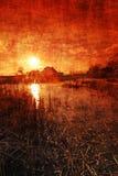 grungy заход солнца Стоковые Фото