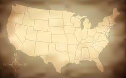 grungy карта США Стоковое Изображение