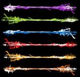 Grungy покрашенные ходы щетки - текстурированный грубый горизонтальный элемент иллюстрация штока