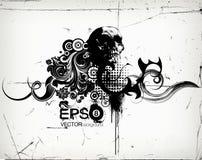 Grungy флористическая иллюстрация с черепом Стоковое Фото