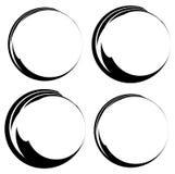 Grungy чернила, круги подкраской Комплект версии 4 Handdrawn круг fra Стоковые Фото
