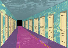 Grungy abandoned hotel hall. Dirty abandoned hotel hall with stains on the walls royalty free illustration