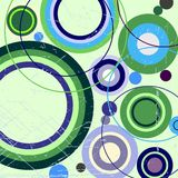 Grungy abstract background with circles. Circles in retro colors, vintage backgroung Stock Illustration
