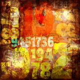 Grungy abstract collage with typo elements. Abstract collage with grungy numbers and coloured abstract elements stock illustration