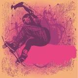 Grungy achtergrond met jongen het springen op een skateboard Stock Afbeeldingen