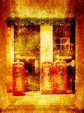 Grungy achtergrond met telefoondozen in Londen royalty-vrije illustratie