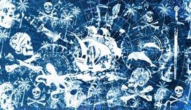Grungy achtergrond van de piraat stock illustratie