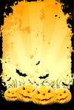 Grungy achtergrond van Halloween met pompoenen en knuppels royalty-vrije illustratie