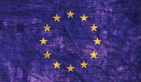 Grungy European Union Flag. Grungy aged and distressed European Union flag stock images