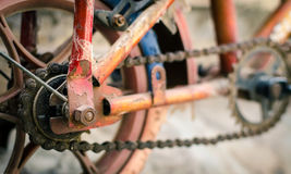 Grungy alter Fahrradabschluß herauf Hintergrund Stockbild