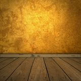 Grungy amber room with spotlight Stock Photo