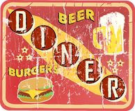 Grungy american diner sign. Retro and grungy american diner sign, vector illustration Royalty Free Stock Images
