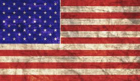 Grungy American Flag. Grungy aged and distressed American flag stock image