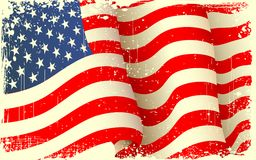 Grungy American Flag Waving. Illustration of waving American Flag with grungy border Stock Photos