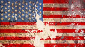 Grungy american flag on weathered wall,. Fictional design Stock Photography