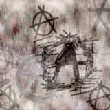 Grungy Anarchy graffiti wall. Old grunge wall with graffiti and faded anarchy symbols vector illustration