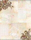 Grungy antik collagebakgrund för tappning med blommor och ephemera Fotografering för Bildbyråer