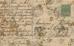 Grungy Antique Vintage Floral postcard Background Stock Image