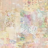 Grungy Antique Vintage Floral wallpaper collage Background. With antique ephemera stock photography