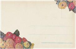 Grungy Antykwarskiego rocznika Kwiecisty pocztówkowy tło Zdjęcie Royalty Free