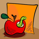 Grungy apple worm cartoon with sticky. Fun grungy cartoon of friendly worm inside an apple in front of orange paper or sticky for your text, perfect for back to Royalty Free Stock Photos