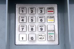Grungy ATM keypad Stock Images