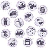 Grungy autumn icons Royalty Free Stock Photo