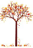Grungy autumn tree. Colorful grungy autumn tree with falling leaves,  background Royalty Free Stock Photo