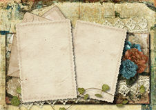 Grungy background with old card and beautiful flowers Stock Photos