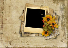 Grungy background with old card and bouquet Royalty Free Stock Photos