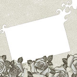 Grungy background with roses. For your text Royalty Free Stock Image