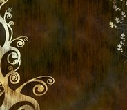 Grungy background with swirls. Grungy brownish background with swirls and foliage stock illustration