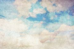 Grungy background with white clouds vector illustration