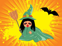 Grungy background with witch holding broom. Grungy rays abckground with witch holding broom, bat silhouette Vector Illustration