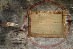 Grungy backgrund, wood, arrow. Grungy background with arrow and free text / picture frame Stock Photography