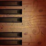 Grungy bakgrund för abstrakt piano med musikanmärkningar Royaltyfria Bilder