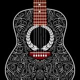 Grungy bakgrund med den svarta akustiska gitarren Royaltyfri Bild