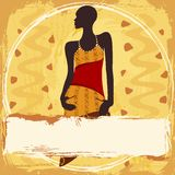 Grungy banner with an African woman in a patterned Royalty Free Stock Images