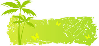 Grungy banner with palm trees and butterflies. In green color Royalty Free Stock Photo