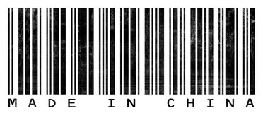 Grungy Barcode Made in China. A barcode reading Made in China with a grunge/photocopied look Royalty Free Stock Photos