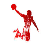 Grungy basketball player. Vector abstract grungy basketball player Stock Photo