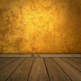 Grungy bernsteinfarbiger Raum mit Scheinwerfer Stockfoto
