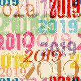 Grungy bezszwowy nowego roku 2019 tło deseniowy, wektorowy illustr ilustracja wektor