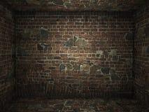 Grungy binnenland van de baksteenruimte stock afbeeldingen